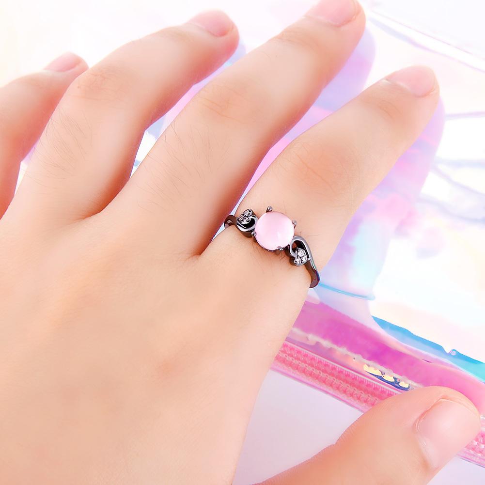 Women Elegant Natural Transparent Cat's eye Stone Rhinestone Crystal Ring Stylish Jewelry Accessories