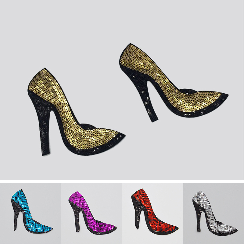 High Heel Shoes Sequins Embroidery Iron On Patches Sewn Applique Embroidered DIY