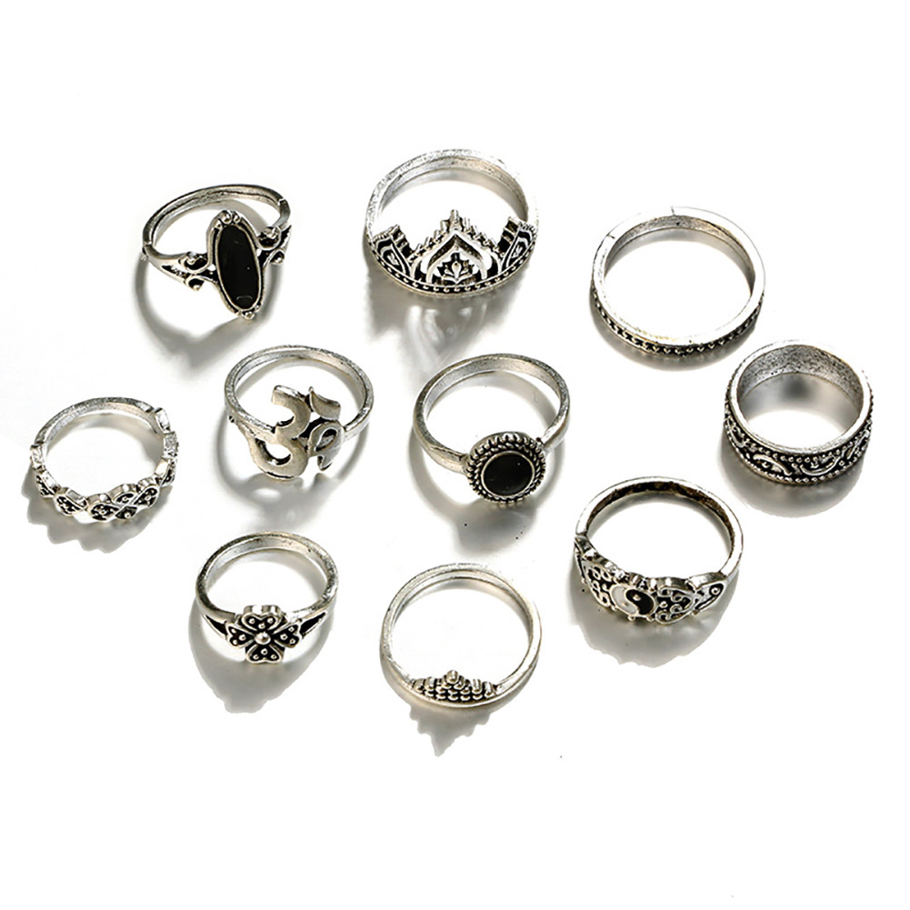 10 Pcs/Set Caved Flower Black Stones Midi Ring Set Vintage Crown Geometric Joint Knuckle Finger Rings