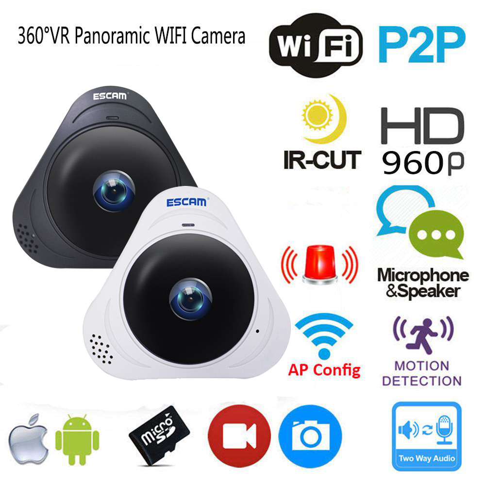 ESCAM Q8 HD 960P 1.3MP Wireless IP IR Camera 360° VR Panoramic Monitor Camera with MIC and Speaker