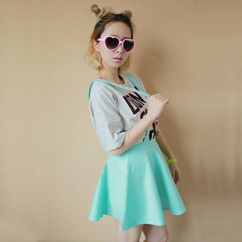 Womens Elegant Waist Suspender Skirt Pastel Skater Flared Pleated Mini Dress