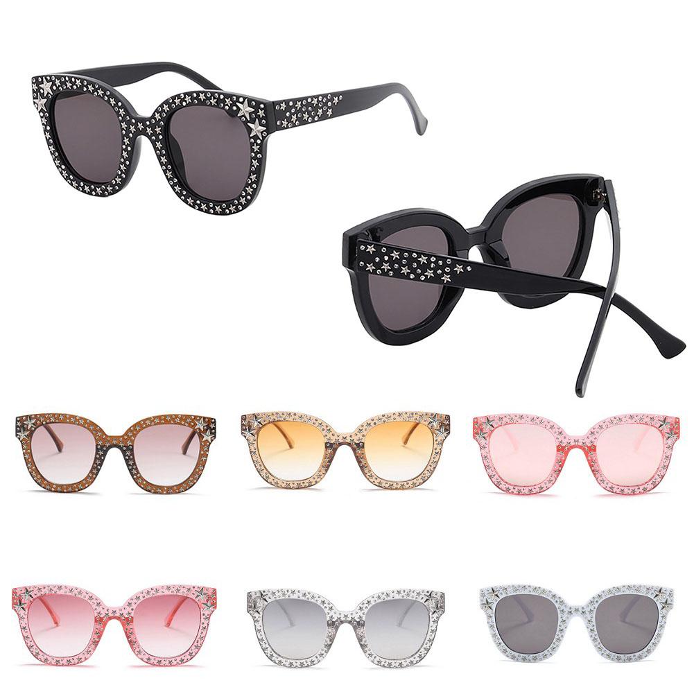 Luxury Italian Brand Sunglasses Women Crystal Square Sunglasses Mirror Retro Full Star Sun Glasses Female Black Grey Shades