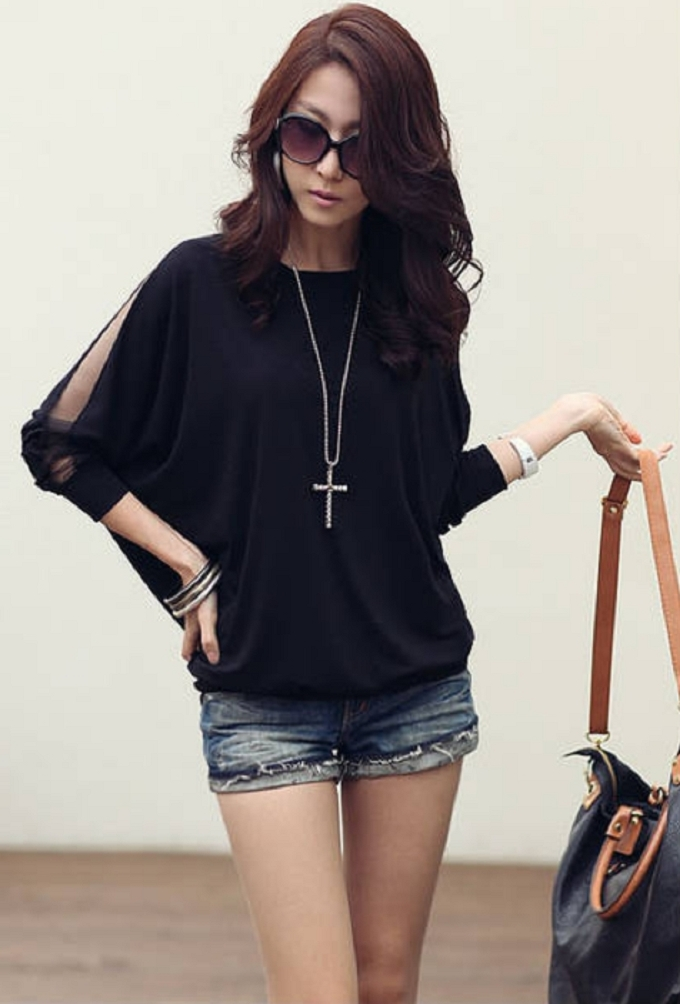 Black Color Sexy Stylish Round Neck Mesh Split Long Sleeve Loose Woman Top Tee T-shirt