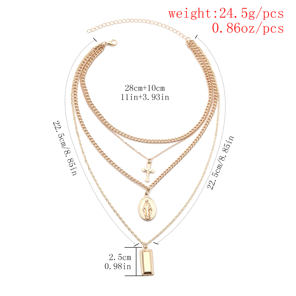 Vintage Alloy Rectangular Pendant Four Layers Cross Pendant Necklace Set Women Jewelry Gift New