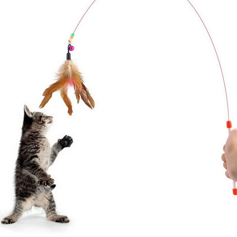 Creative Kitten Cat Pet Toy Wire Chaser Wand Teaser Feather With Bell Beads Fun
