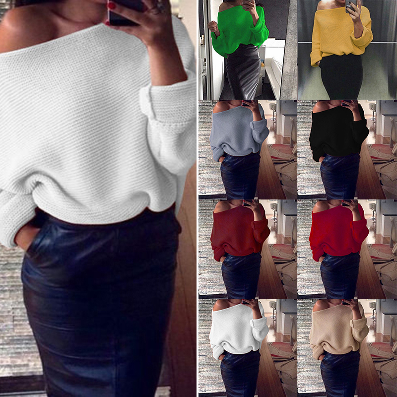 026ba379ecedb Womens Ladies Off Shoulder Chunky Knitwear Knitted Oversize Baggy Sweater  Jumper Loose Top ...