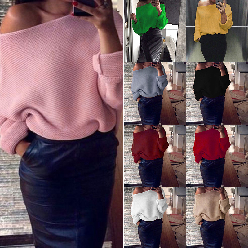 Womens Ladies Off Shoulder Chunky Knitwear Knitted Oversize Baggy Sweater Jumper Loose Top