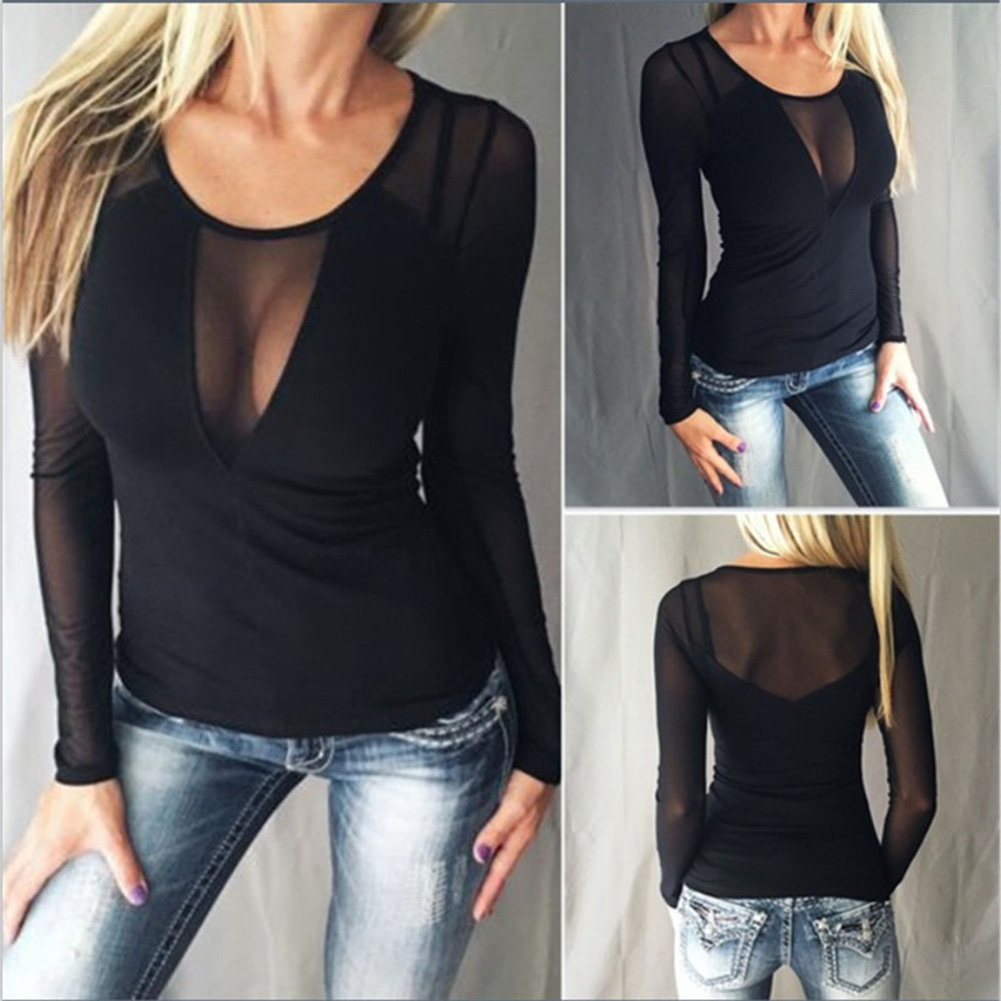 Women Sexy See-through Splice Mesh Blouses Long Sleeve O Neck Casual Solid Slim See Through Shirts Tops Tees Plus Size S-5XL