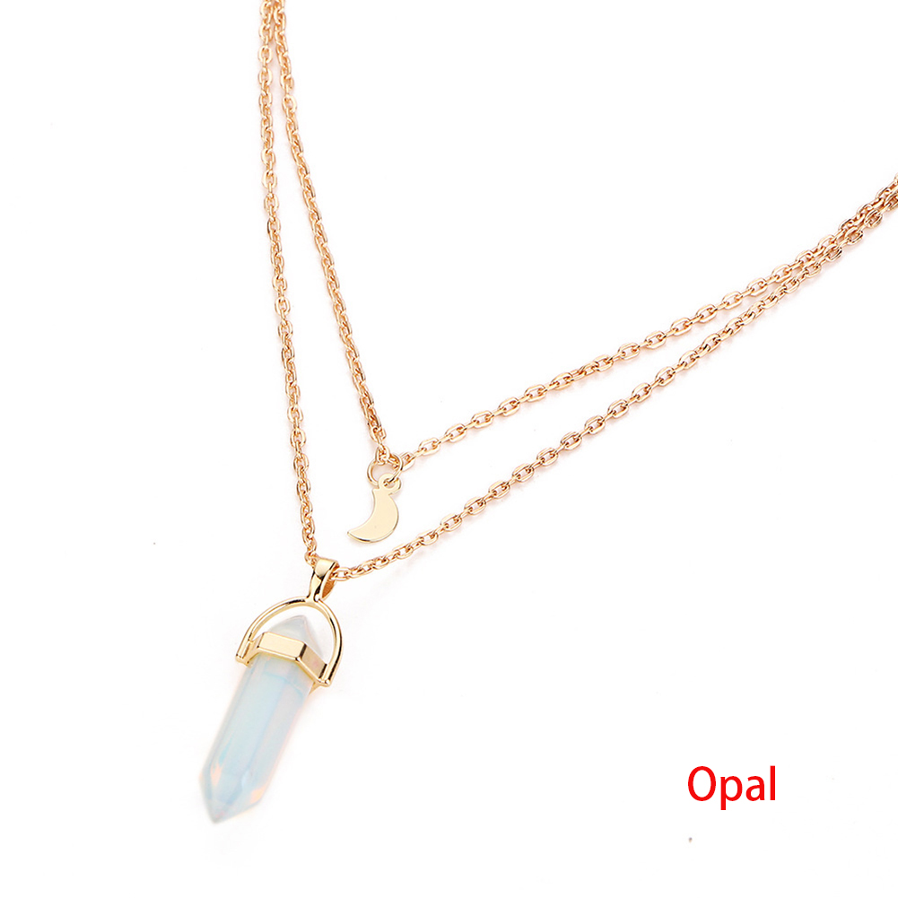 2017 Crystal Opals Natural Stone Quartz Pendants Necklace Double Layer Choker Jewelry