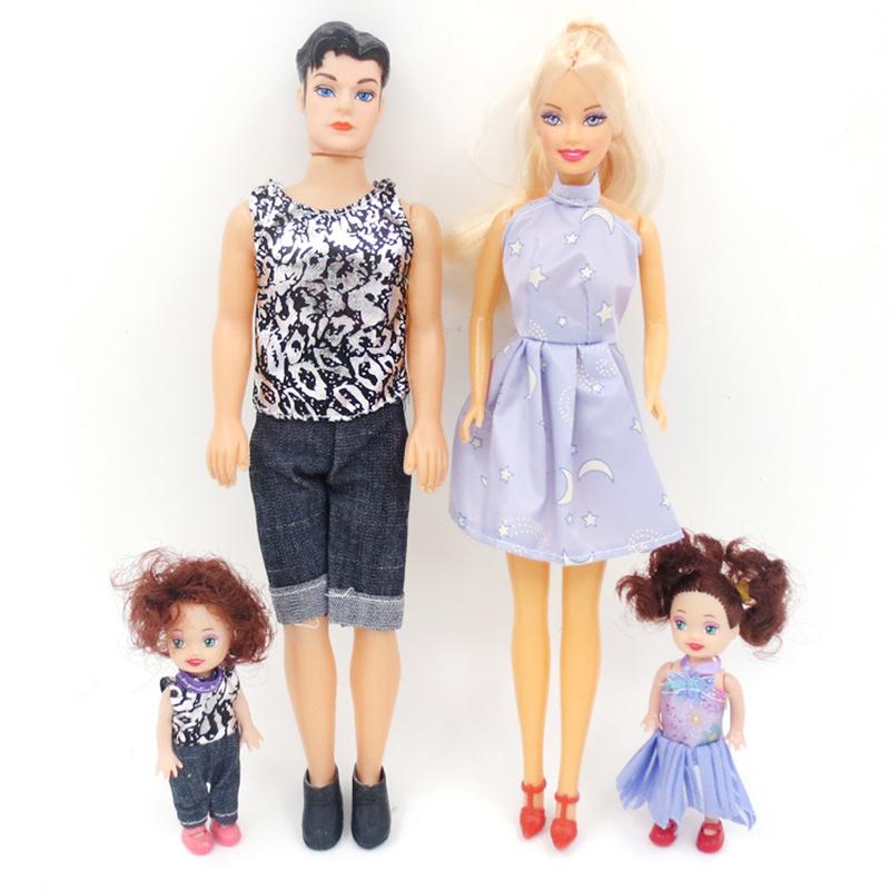 4 Pcs Family Doll Mom Baby Dad Kids Barbie Dolls Set Random Color