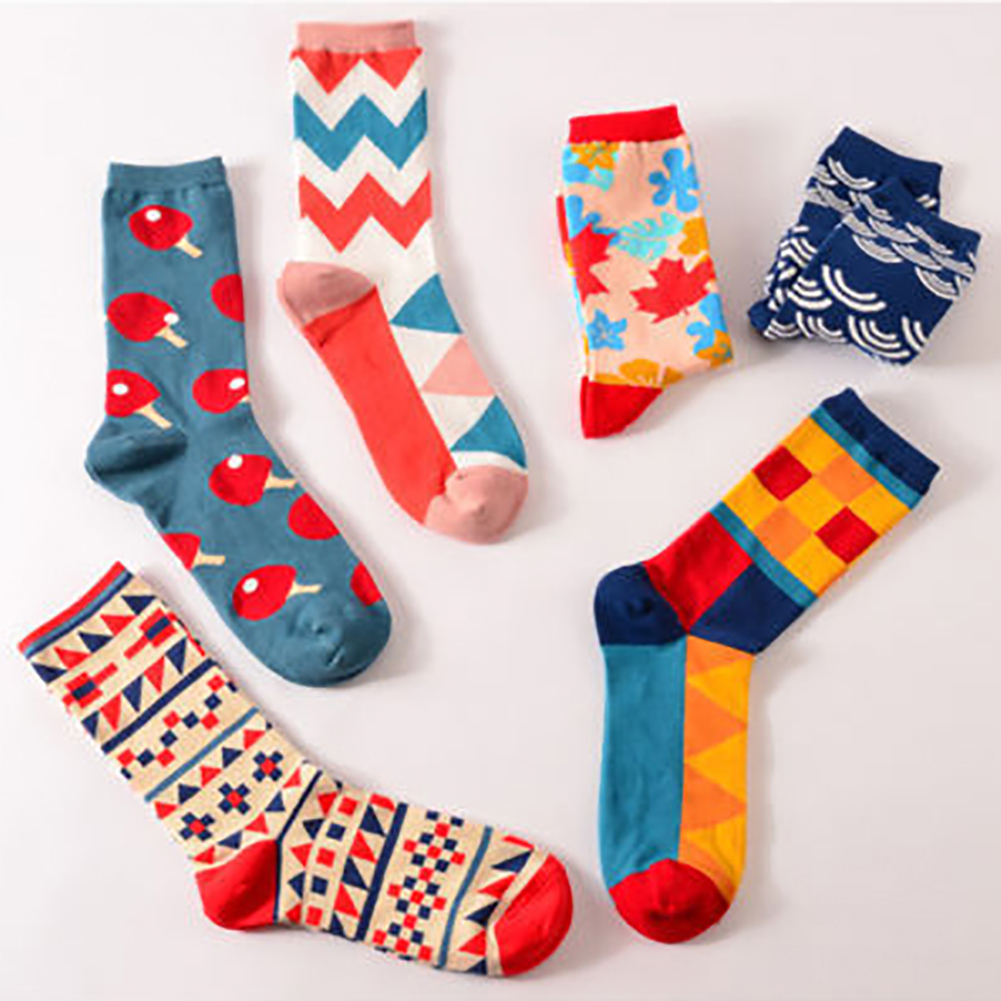 6PCS Socks Fashion Mens Womens Casual Dress Socks Multi-Color Hosiery