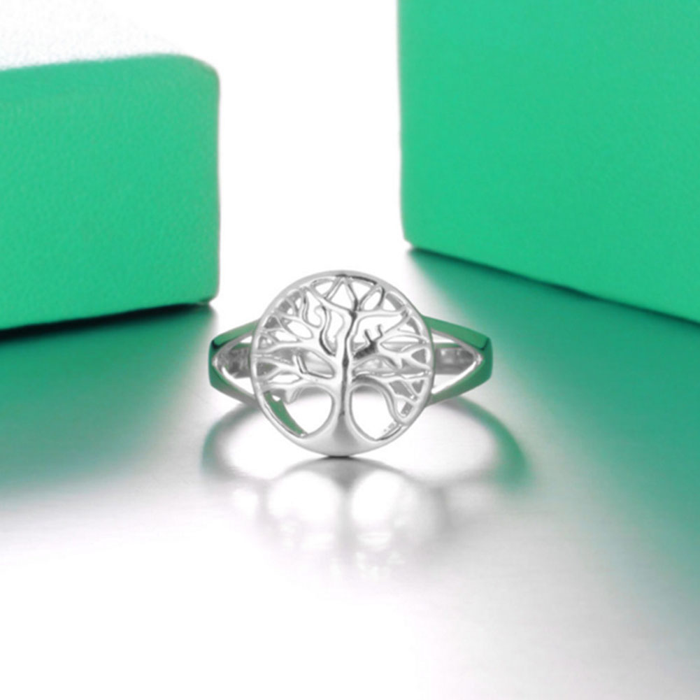 Women Unique Classic Tree of Life Silver Ring Fashion Hollow Lady Jewelry Gift Accessories