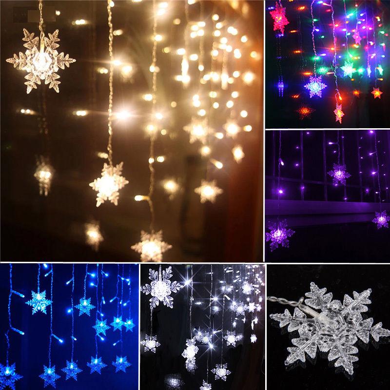 3.5M 96LEDs 16Snows Snowflake LED String Curtain Lights Holiday Xmas Wedding Christmas Decoration