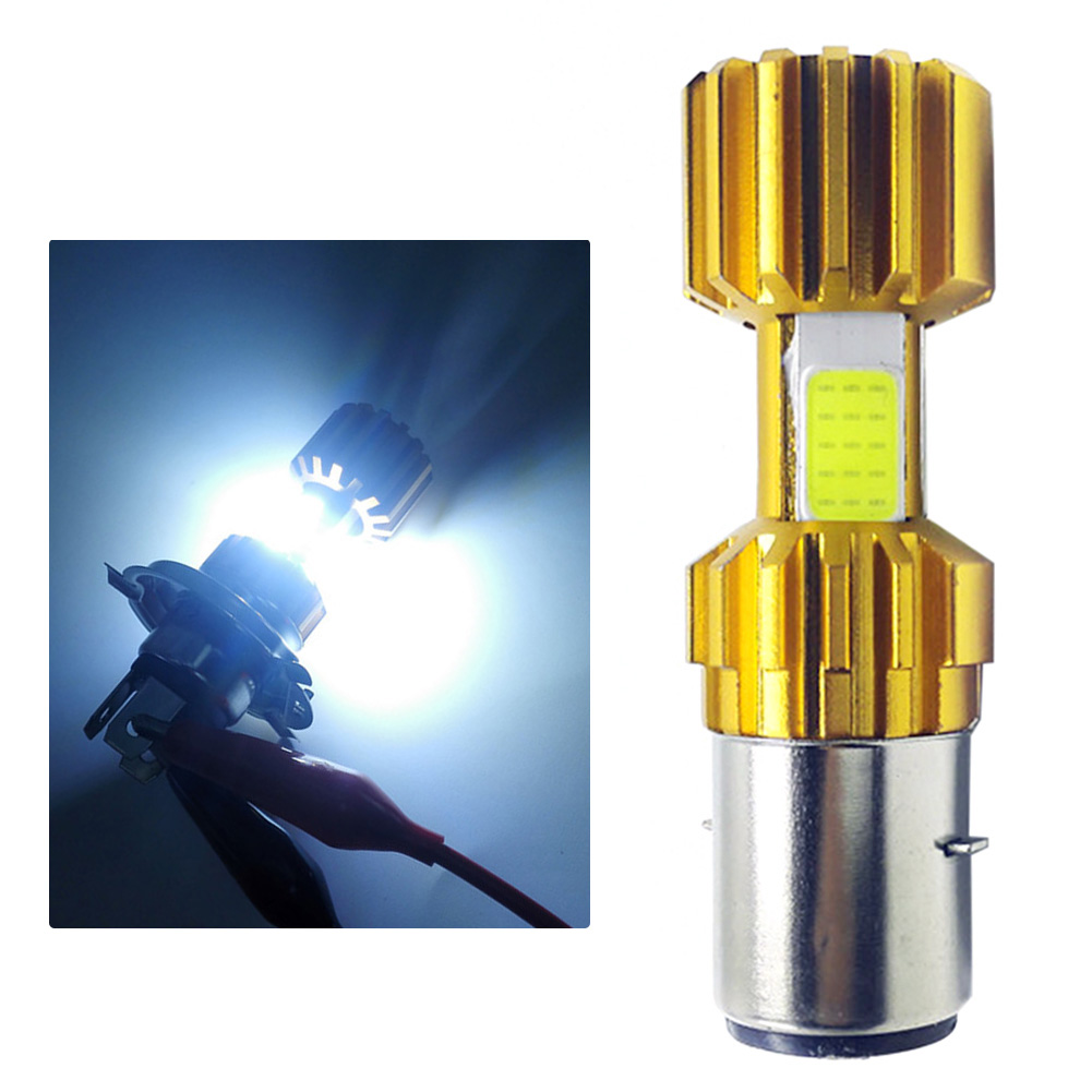 H6 3 COB Motorcycle Headlight LED Bulb 6500K Hi/Lo Beam Light White 2000LM 18W