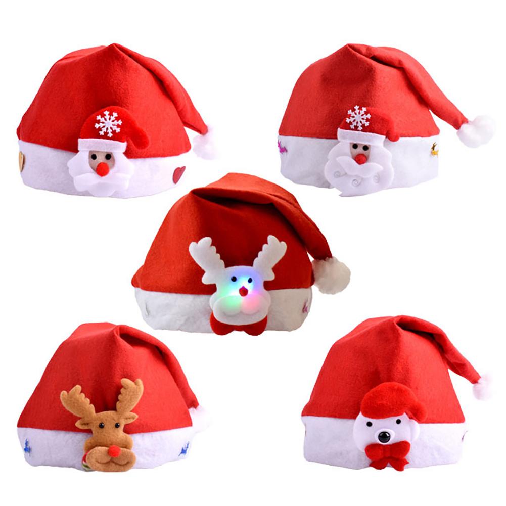 Lovely Snowman Elk Women Men Christmas Hat LED Caps New Year Xmas Gift Home Decorations