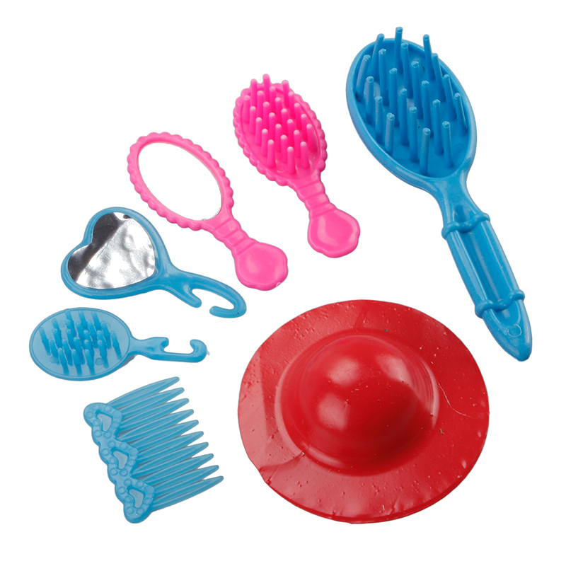 50Pcs Various Accessories Shoes Bag Mirror Hanger Comb Bracelet For Barbie Dolls