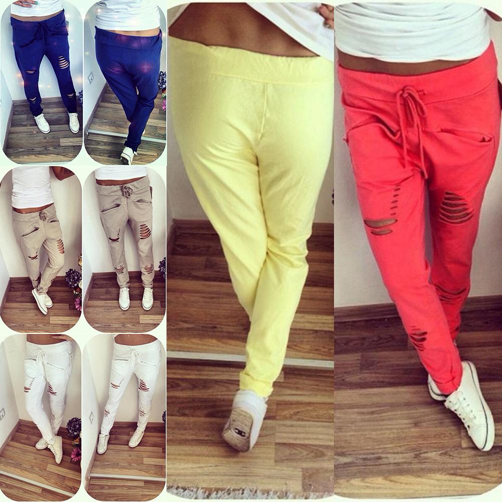 Fashion Woman's Hole Harem Pants Casual Jogger Dance HipHop Loose Slacks Trousers Sweatpants