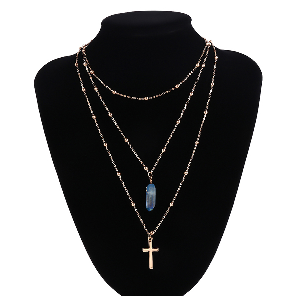 Vintage Alloy Crystal Cross Pendant Three Layers Long Chain Necklace Women Jewelry Gift New