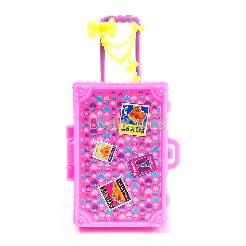 New 3D Cute Kid Child Travel Train Suitcase Luggage for Barbie Doll Dress Gift
