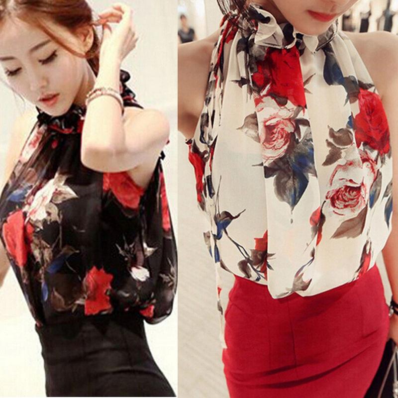 Women Summer Slim Casual Chiffon Floral Vest Shirt Tops Blouse Ladies Top