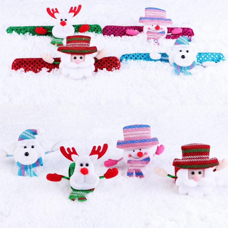 Christmas LED Light Glow Dazzling Toy Xmas Slap Circle Bracelet Wrist Band Gifts Jewelry