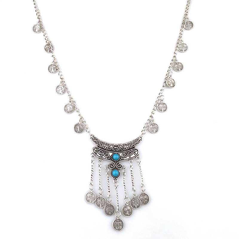Natural Turquoise Unique Healing Gemstone Tribal Gypsy Amulet Pendant for Women Unisex FINE Tibetan Ethnic Boho Fashion Handmade Jewelry 925 Sterling Silver Pendant