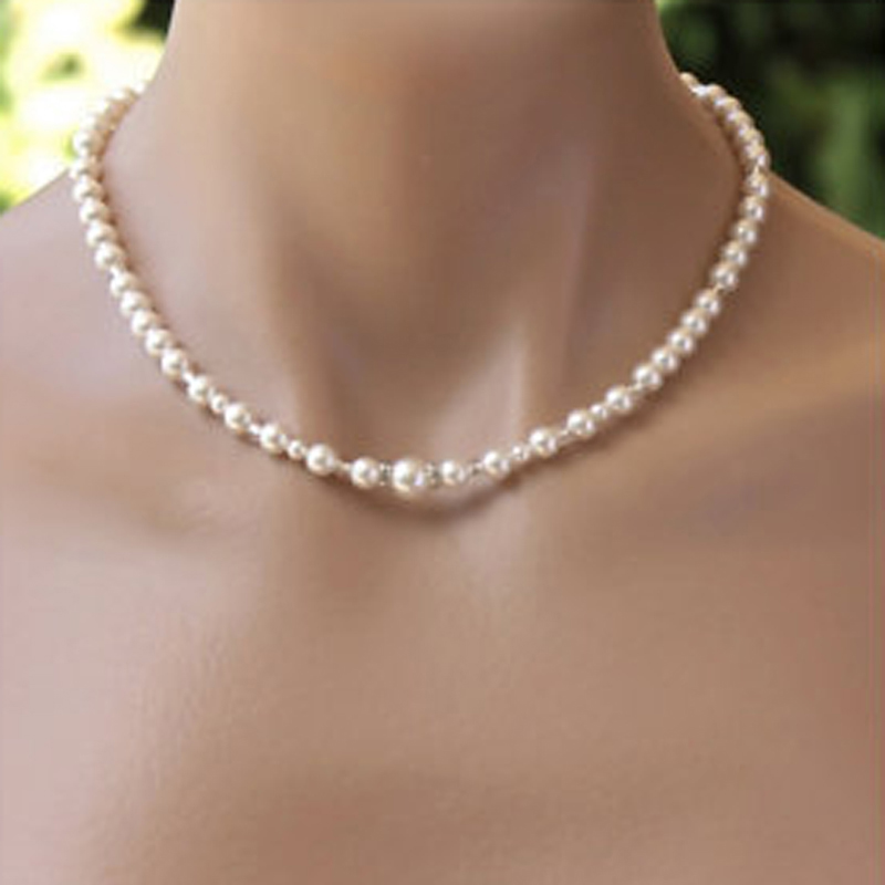 Simple Pearl Back Drop Necklace Long Back Necklace Pearl For Wedding Bridal Jewelry