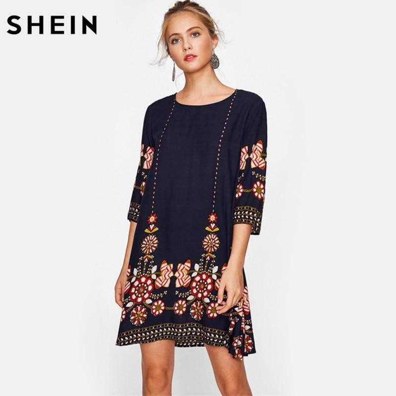 SHEIN Flower Print Flowy Dress Autumn Boho Dress Ladies Navy Three Quarter Length Sleeve A Line Casual Fall Dress
