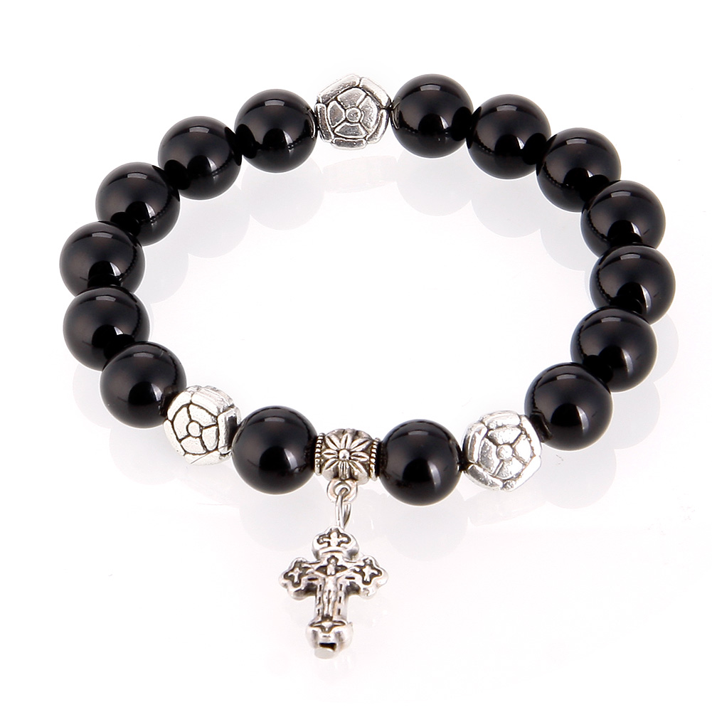Natural Cross Black Agate Bracelet Gemstone Beads Stylish Elegant Quality Women
