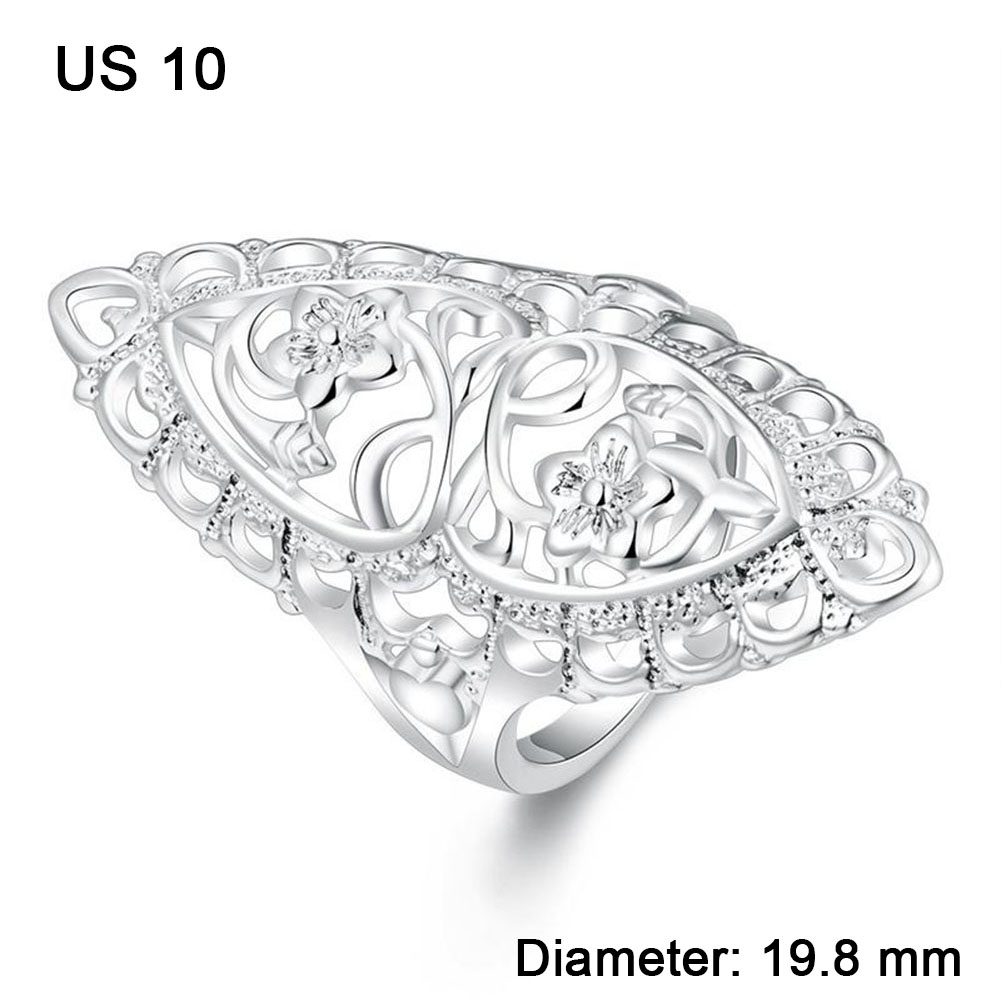 Women Fashion Hollow Silvering Rings Wedding Finger Jewelry Accessories Gift