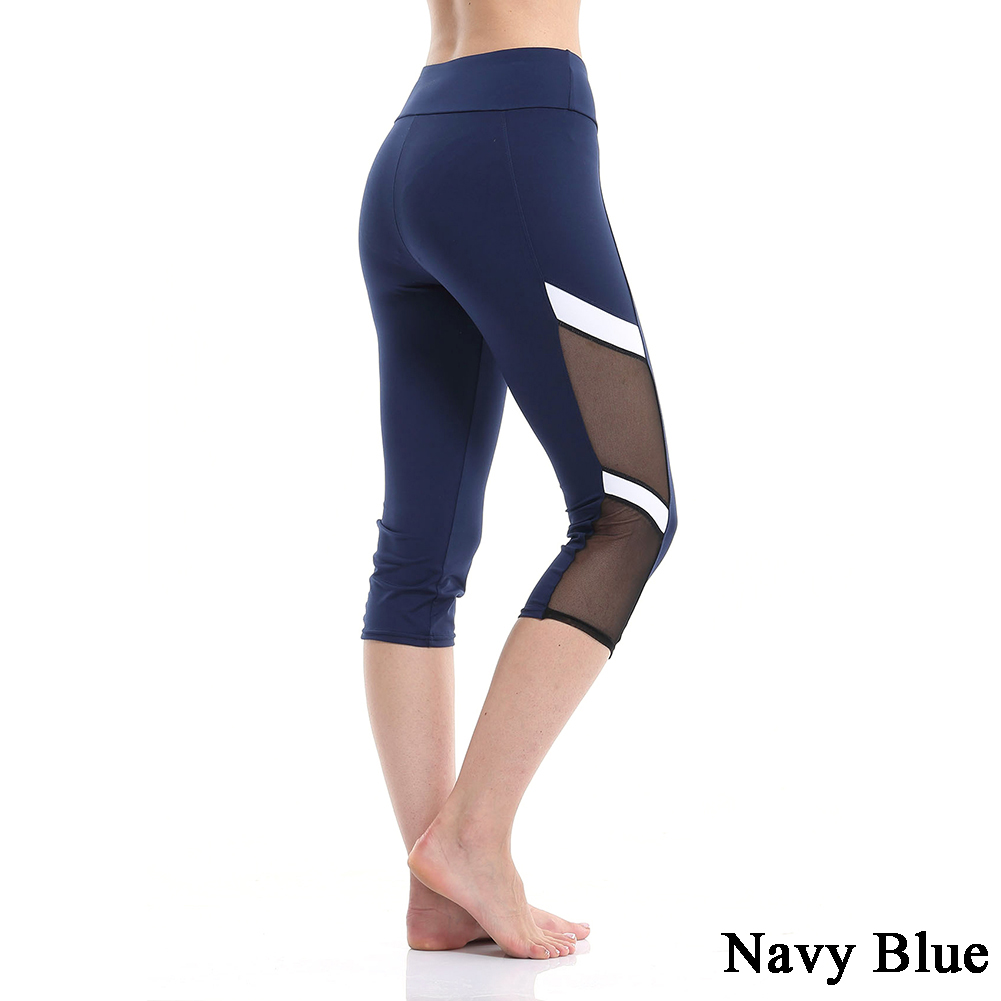 Women Sports Trouser Yoga Mesh Workout Gym Leggings Fitness Athletic Pants Cropped Trousers