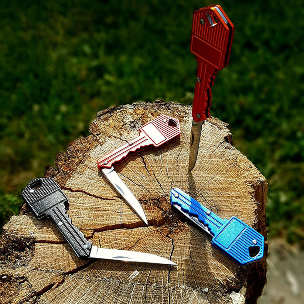 Outdoor Fishing Survival Folding Blade Portable Camping Key Shape Knife