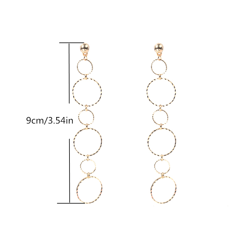 1Pair Fashion Simple Circle Connected Earrings Geometric Connected Round Dangle Stud Earrings for Women