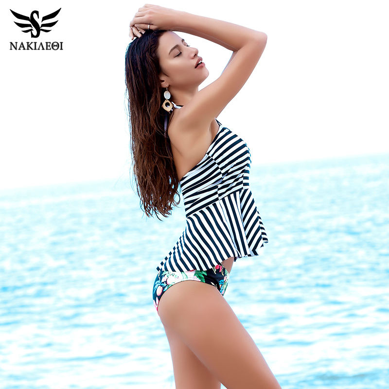 NAKIAEOI 2018 New Halter Bikini Tankini Swimsuit Women Push Up Swimwear Dress Vintage Retro Print Beach Bathing Suits Swim Wear