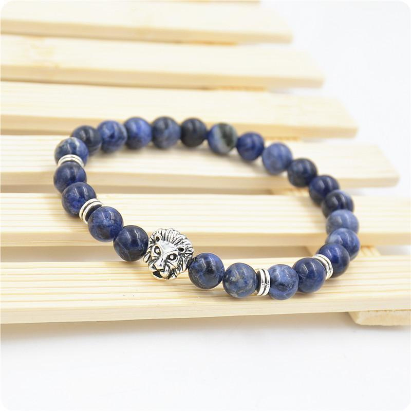 Men's Handmade 8MM Blue Sodalite Silver Lion Head Beaded Yogo Elastic Bracelet