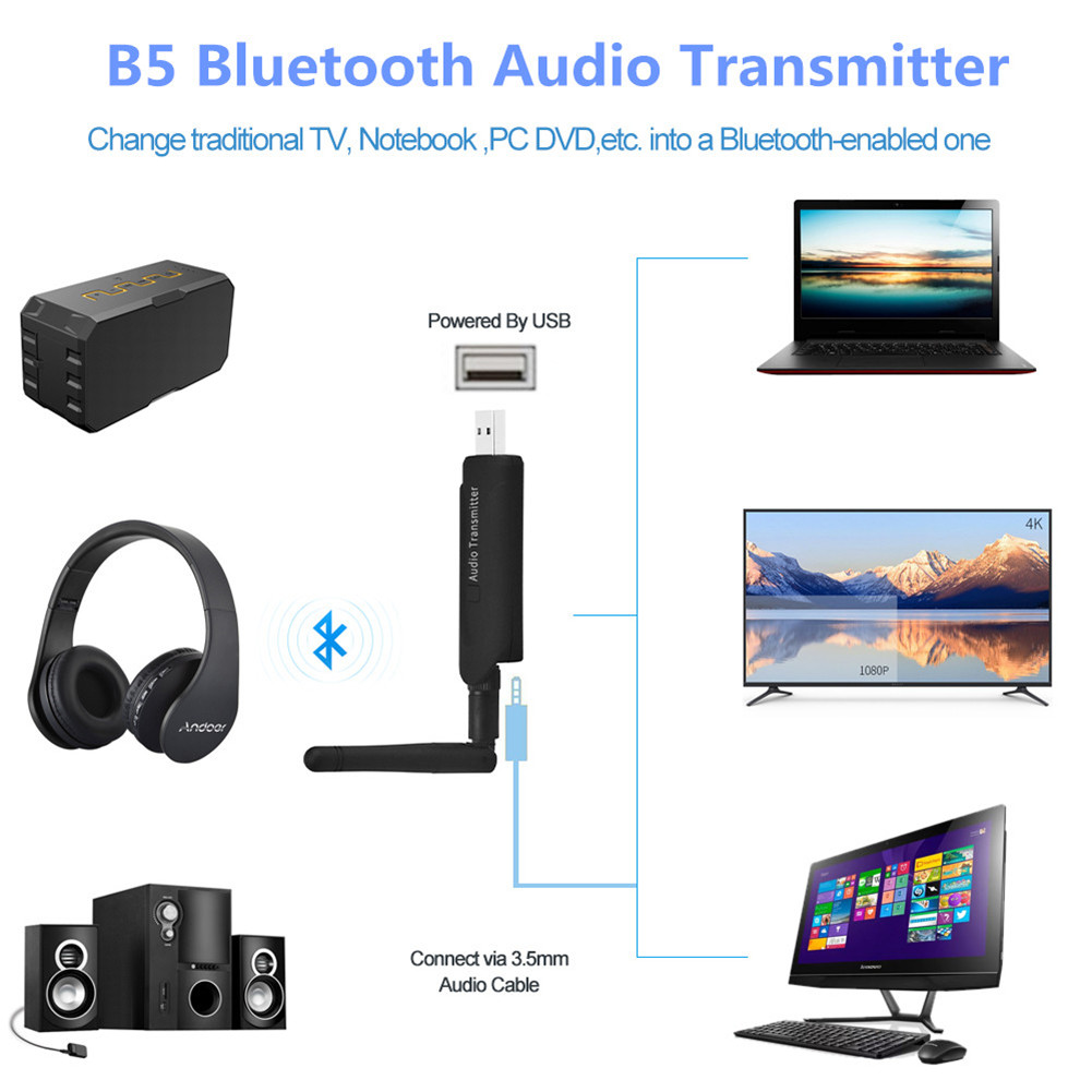 B5 Wireless Audio Transmitter Bluetooth Launcher 3.5mm Stereo Music Adapter with External Antenna for TV PC
