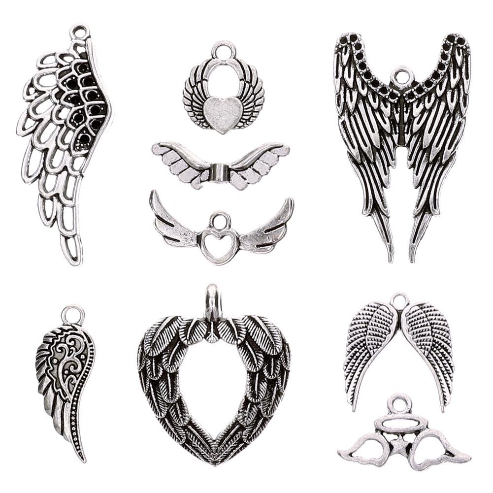 36 Pcs Vintage Silver Plated Assorted Angel Wings Theme Charms Pendants Set for DIY Necklace Jewelry Handmade Making Accessaries