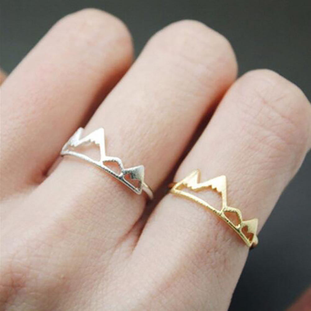 Women Fashion Creative Nature Snow Mountain Geometry Open Ring Jewelry Accessories Gifts