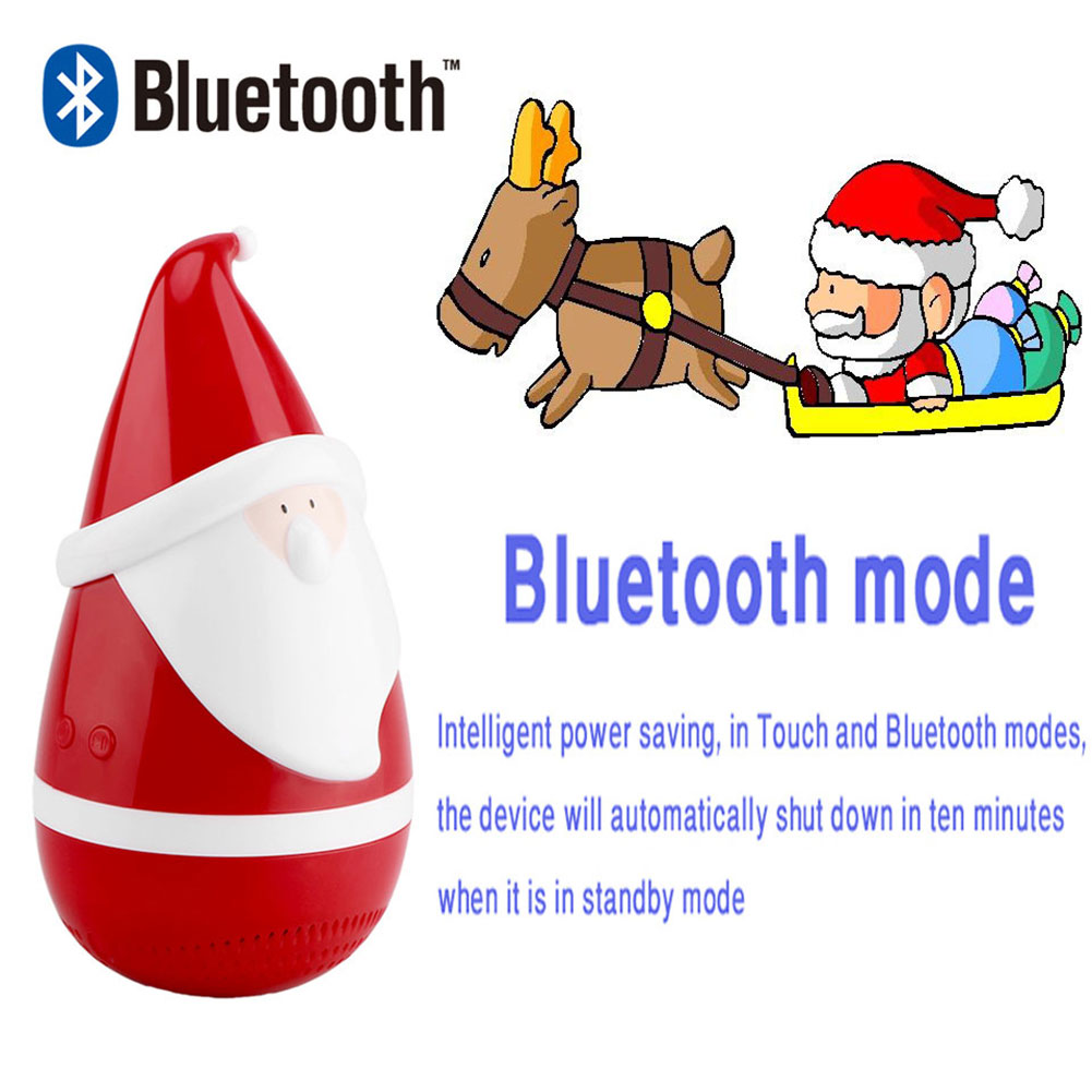 Christmas Tumbler Santa Claus Wireless Bluetooth Speaker Stereo Sound Xmas Gift