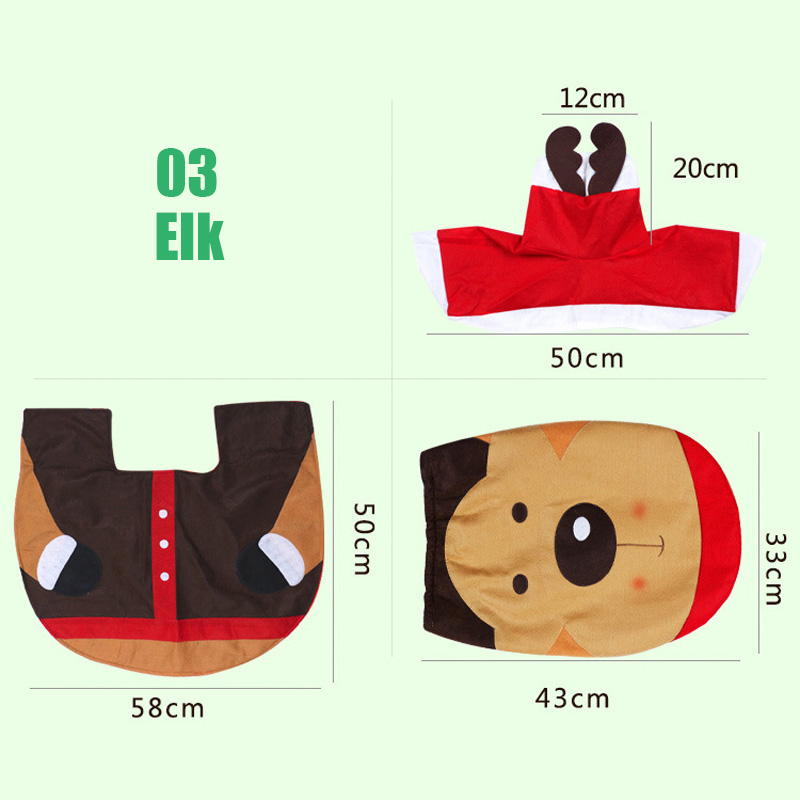3pcs Cute Christmas Xmas Decoration Santa Toilet Seat Cover Rug Bathroom Mat Set