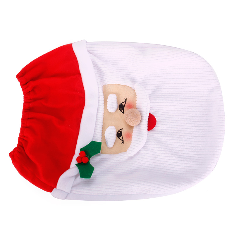 3pcs Cute Christmas Xmas Decoration Santa Toilet Seat Cover Rug Bathroom Mat Set