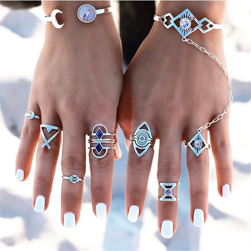 8Pcs/Set Women Boho Silver Plated Turquoise Gem Knuckle Open Midi Ring Jewelry