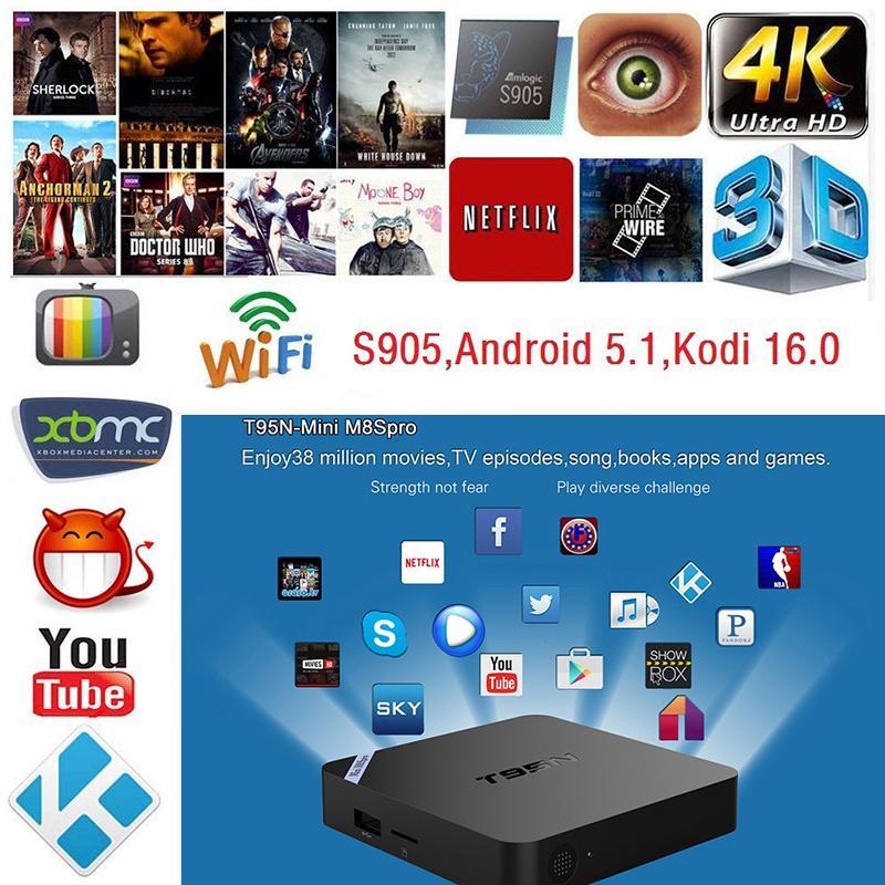 T95N S905X 4K Android 6 0 Smart TV BOX Quad Core KODI M8S Pro WIFI