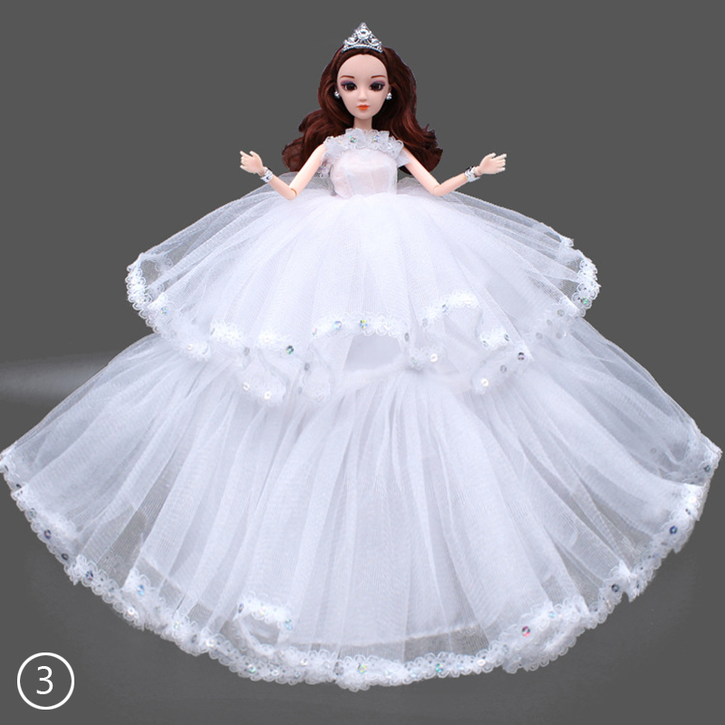 1Pc White Wedding Dress Mantilla Party Mini Gown Fashion Clothes For Barbie Doll