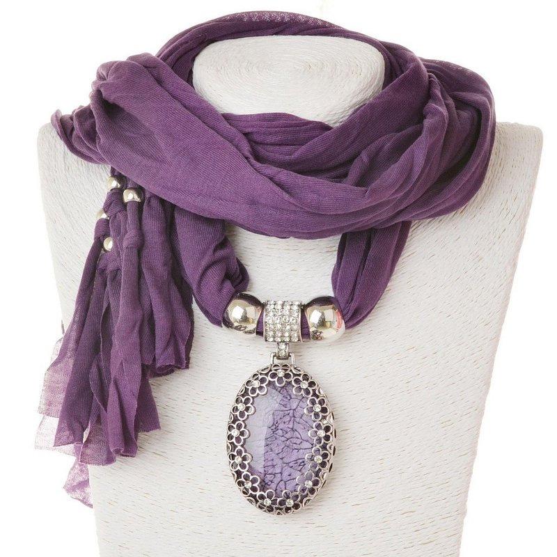 Women Hollow Oval Crystal Gem Pendant Fabric Shawl Scarf Wrap Necklace Jewelry