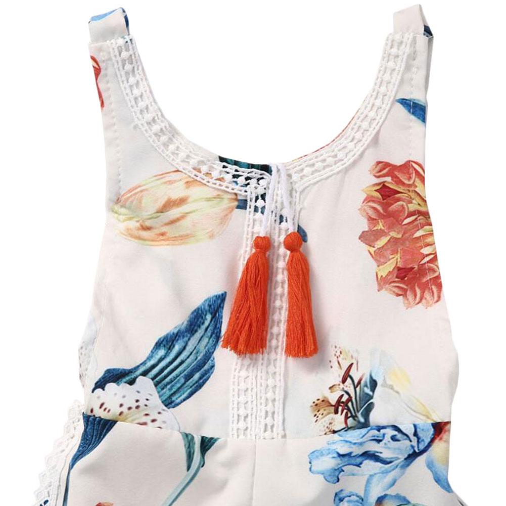 Newborn Baby Girls' Full Flower Print Lace Ruffles Sexy Blackless Romper Bodysuit