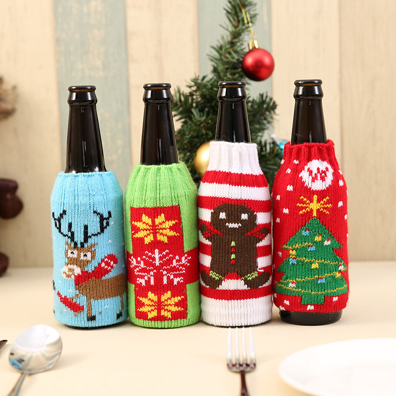 Wine Bottle Cover Bags Decoration Party Santa Claus Christmas Cap Wine Bottle Xmas Day Decor