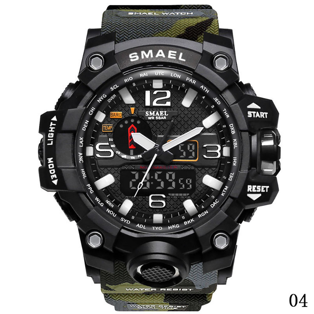SMAEL Fashion Men's Multi-function Digital Waterproof Watch Date Military Quartz Sport Camouflage Straps Wristwatches