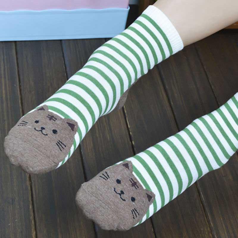 6f411a4a562 ... 1 pair Women Cute Cartoon Animals Striped Socks Cat Footprints Cotton  Socks ...