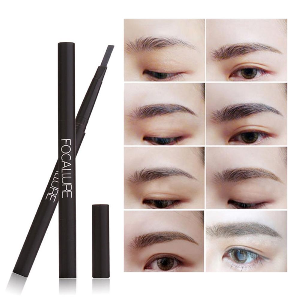 FOCALLURE New Waterproof Rotary 3 Colors Eye Brow Eyeliner Eyebrow Pen Pencil with Brush Makeup Cosmetics Tools